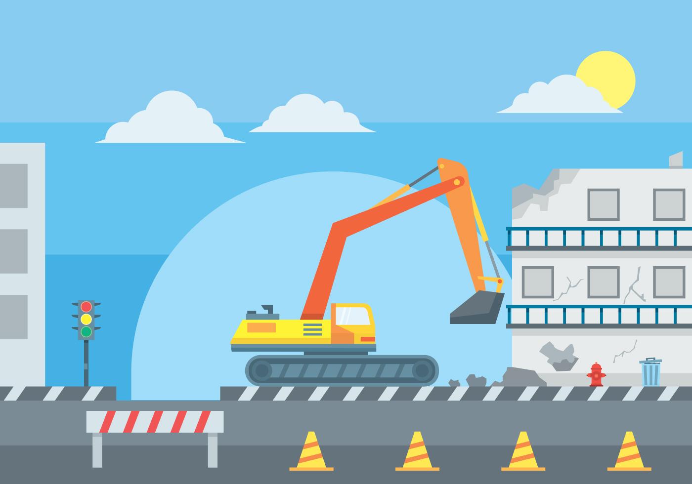 Traffic Light Demolition : Illustration of building demolition download free vector