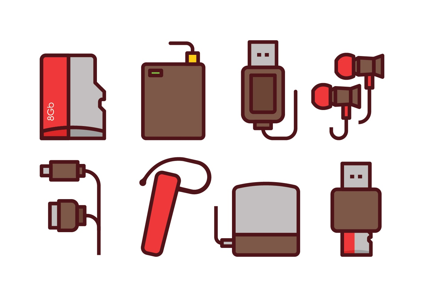 Phone Accessories Icon Set Download Free Vector Art