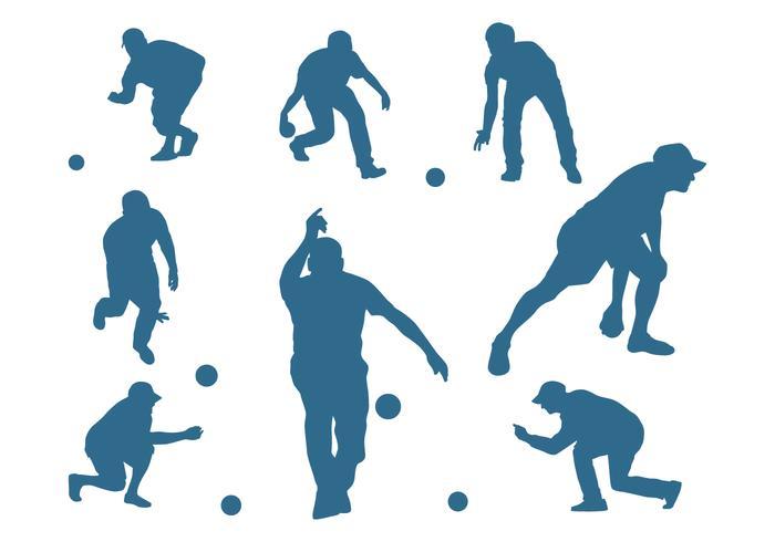 Hommes, silhouettes, jouer, pétanque
