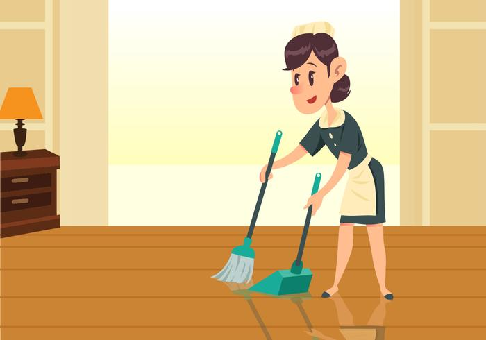 Maid Girl Sweeping Floor Vector