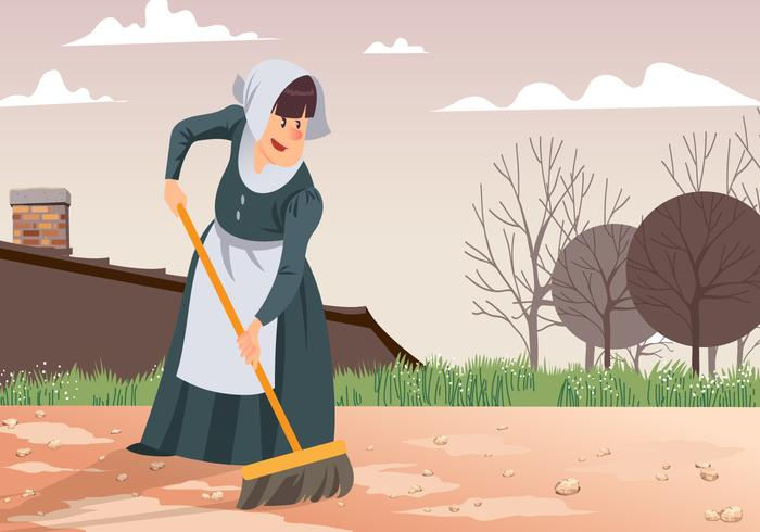 Maid Sweeping Patio Vector