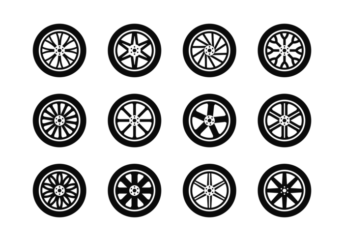 Alloy Wheels Icons Vector
