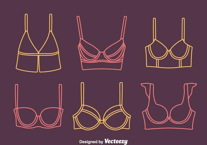 Bra And Bustier Line Icons Vectors