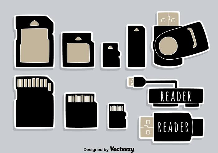Usb Card Reader Element Icons Vector