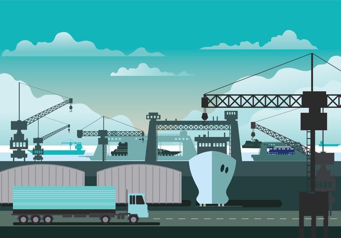 Illustration of Shipyard at Work