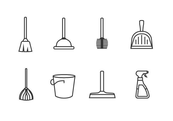 Ferramentas de limpeza set icon vectors