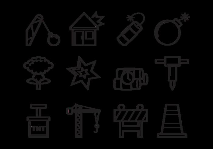 Demolition Icons Vector