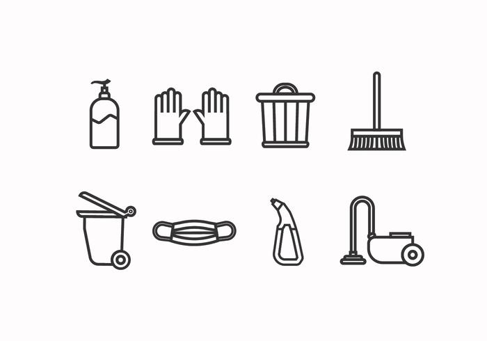 Cleaning tools set icon