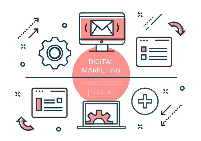 Kostenlose Linear Digital Marketing Elemente