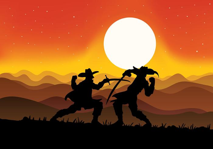 Musketeers Fighting Vector Background