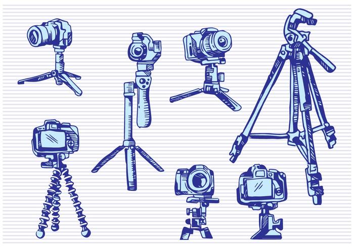 Camera Tripod Sketch Drawing Style