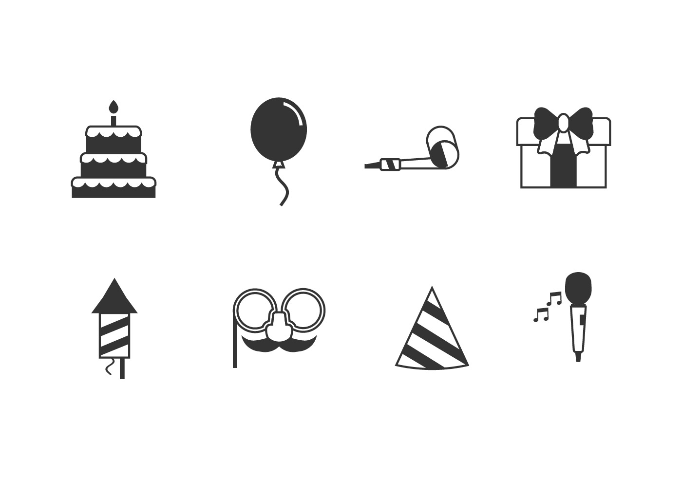Birthday party set icons - Download Free Vector Art, Stock ...