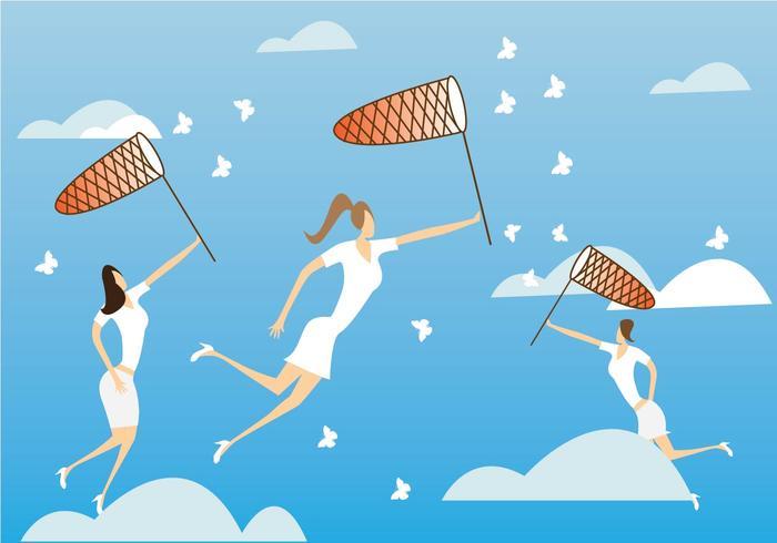 Women Catching Butterflies with Net Vector