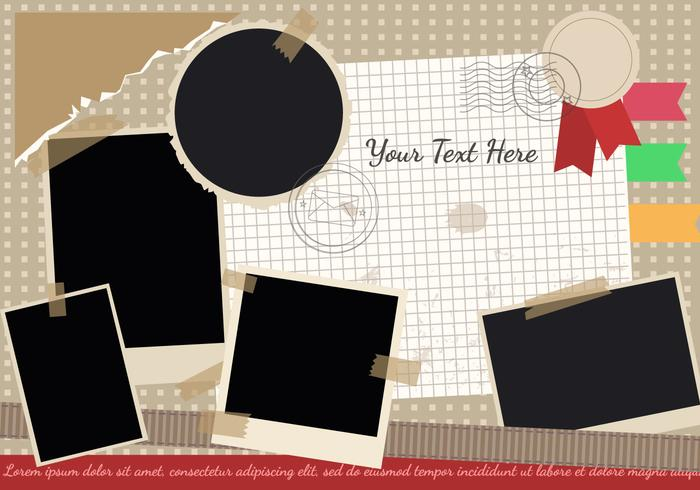 Scrapbook with Travel Theme and Photo Edges Vector