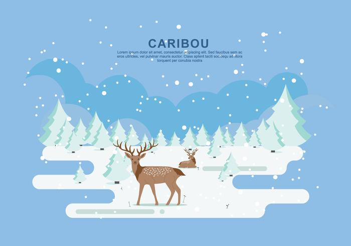 Snow Caribou Vector Flat Illustration