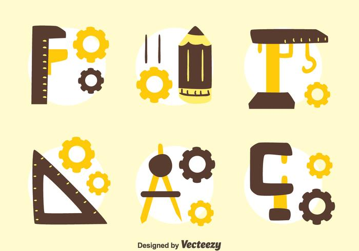 Hand getekende Enginer Tools Collection Vector