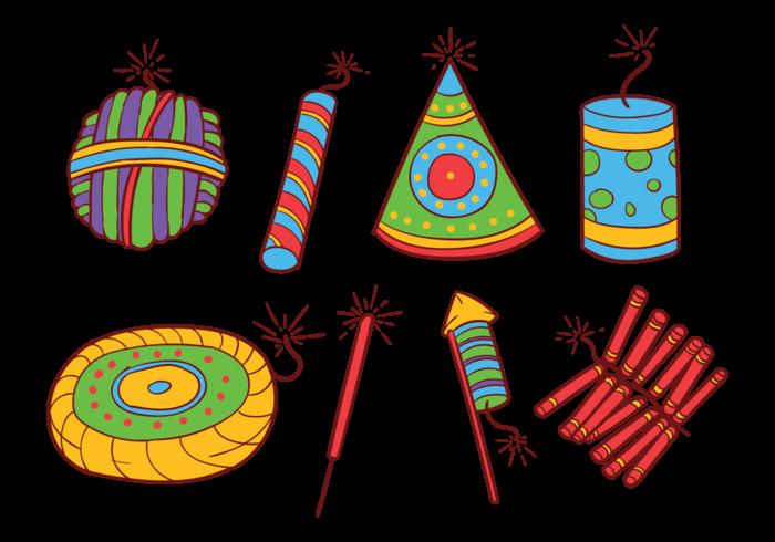 Diwali Fire Crackers Iconos Vectoriales