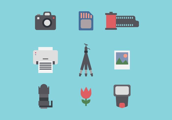 Set Van Fotografie Vlakke Pictogrammen