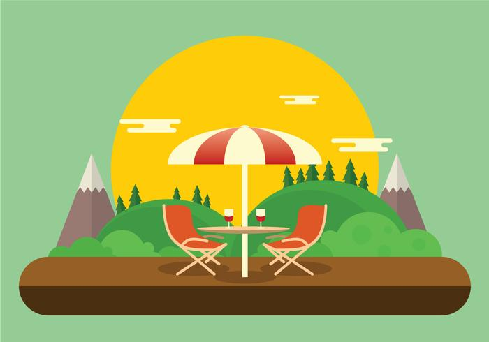 Romantic Lawn Chair Set Up with Wine Glasses Vector