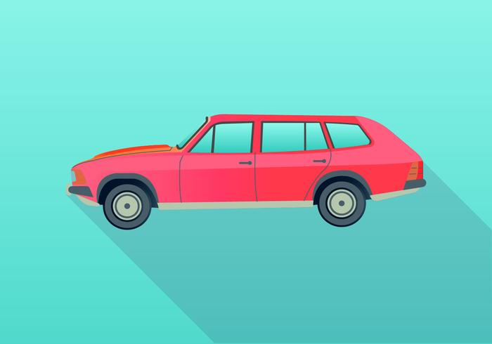 Retro 80s Station Wagon Memphis Vector Illustration