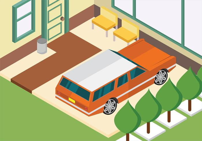 Isometric Station Wagon Parked at Home Vector