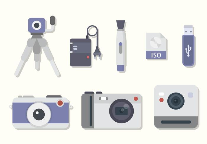 Flat kamerautrustning vektorer