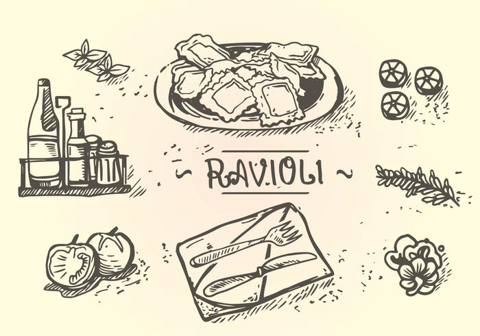 Ravioli Menu Hand Drawing