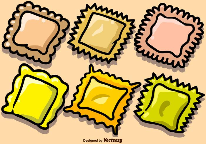 Vector Hand Drawn Pasta Ravioli Icons