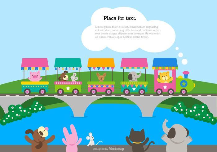 Simpatico cartone animato treno con agitando gli animali