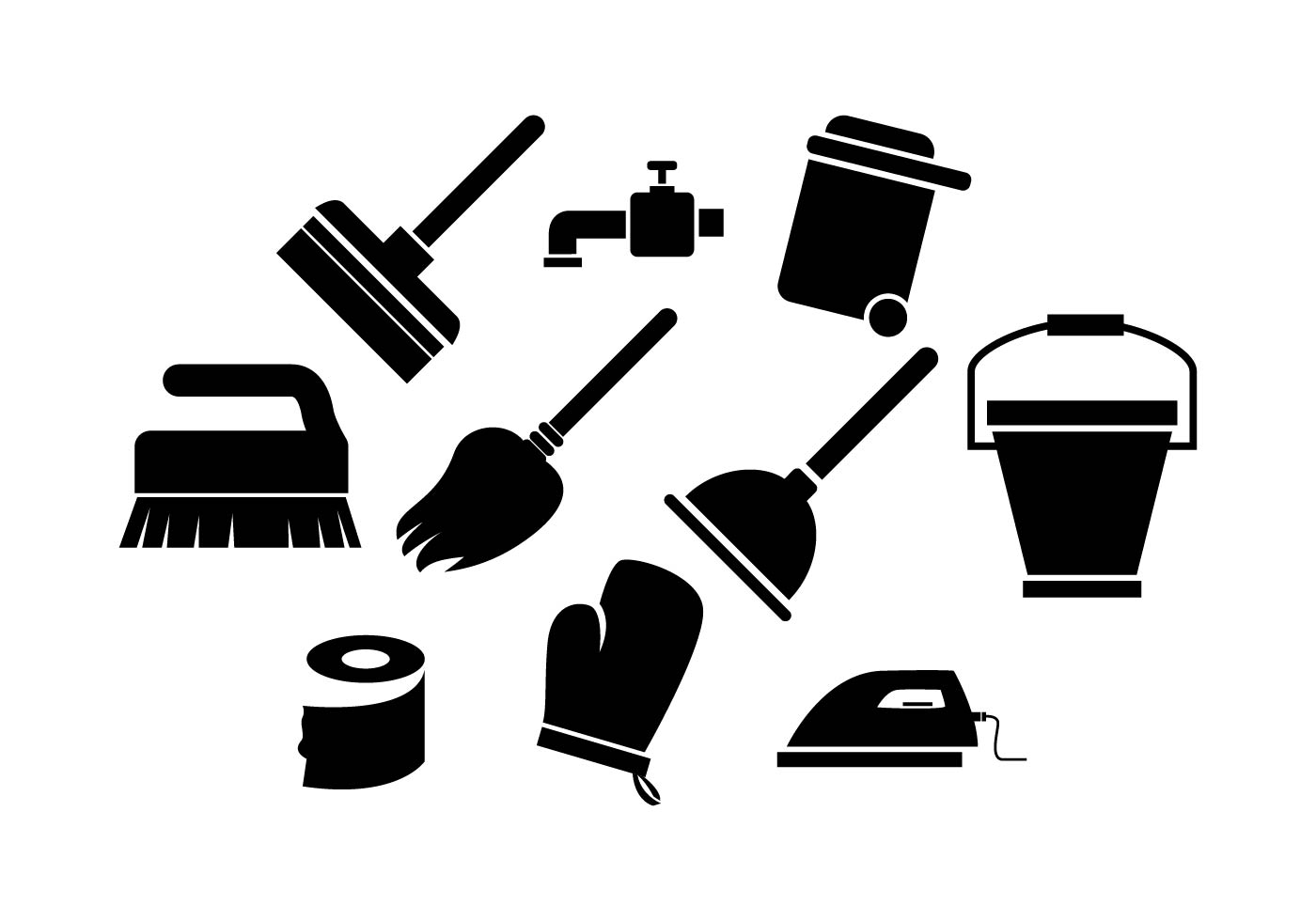 Free Cleaning Tools Silhouette Icon Vector - Download Free ...