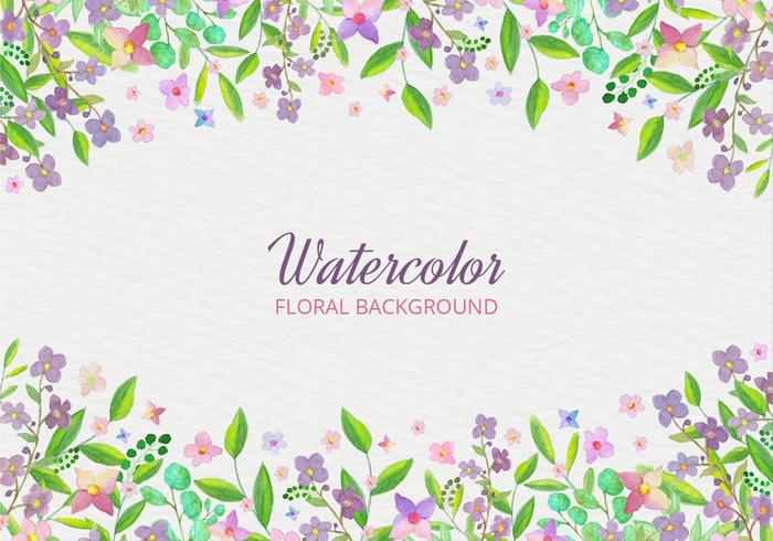 Watercolor Free Vector Background With Hand Draw Flowers