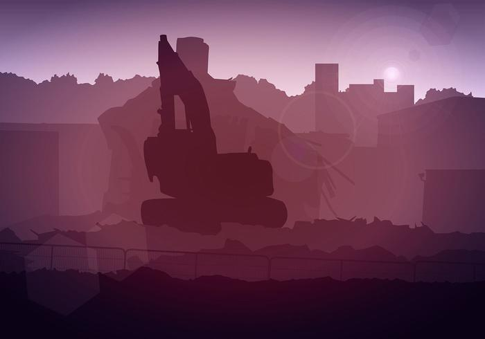 Demolition Building Silhouette Free Vector