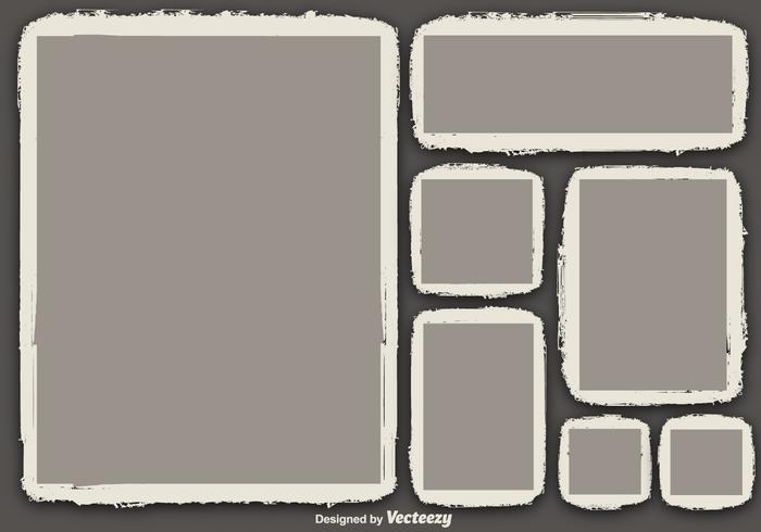 Vectoriales áspero foto bordes conjunto