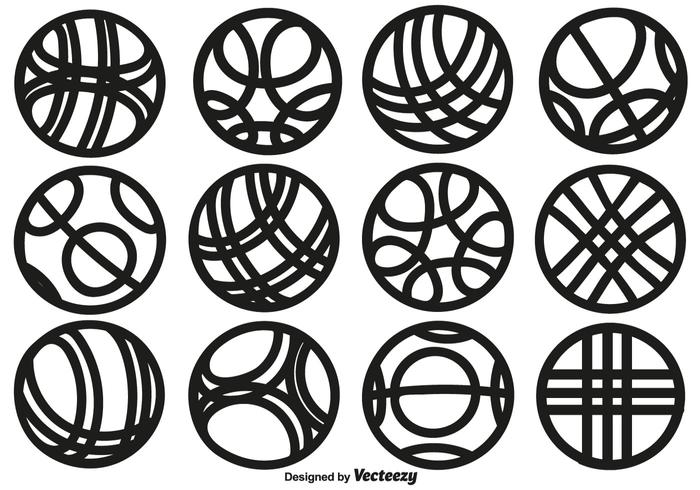 Vector Collection Of Line Style Bocce Ball Icons