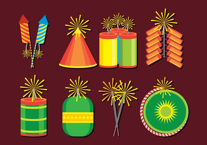 Iconos Diwali Crackers Set vector