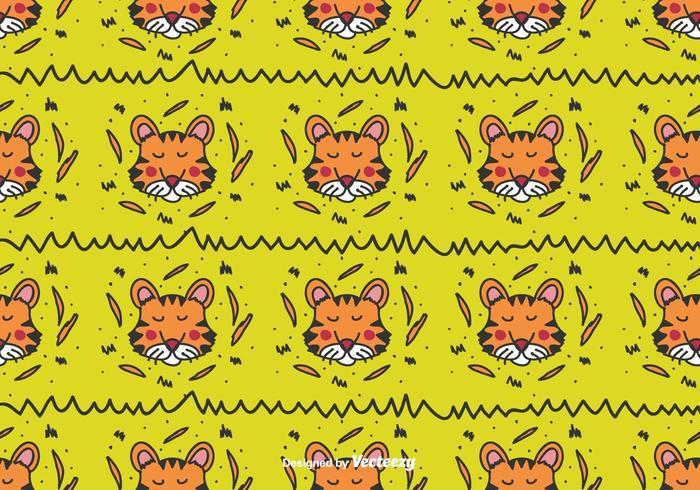 Doodle Tiger Vector Patroon