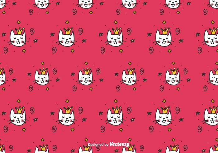 Doodle Cat queen Vector Pattern