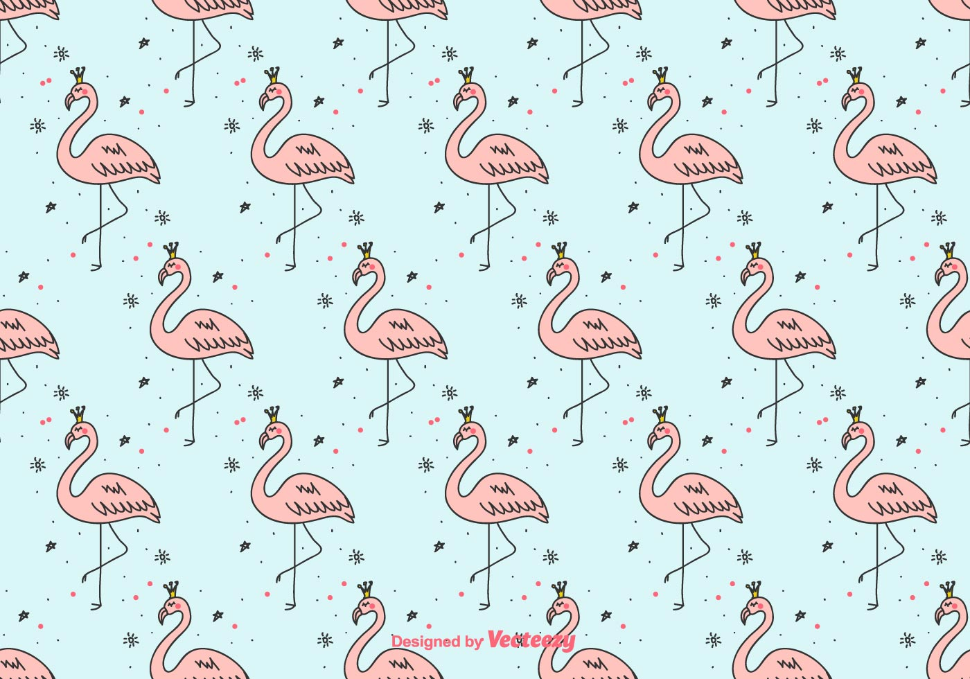 girly flamingo vector background