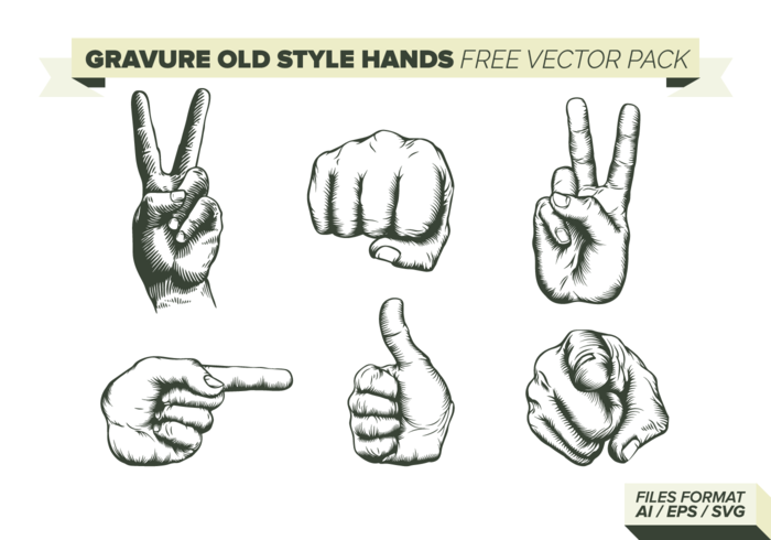 Gravure Old Style Hands Gratis Vector Pack