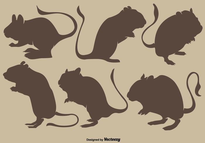 Collection Of Vector Brown Silhouettes Of Gerbil Rodents
