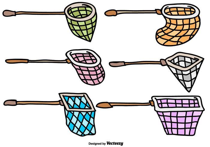Vector Butterfly Net Cartoon Icon Set