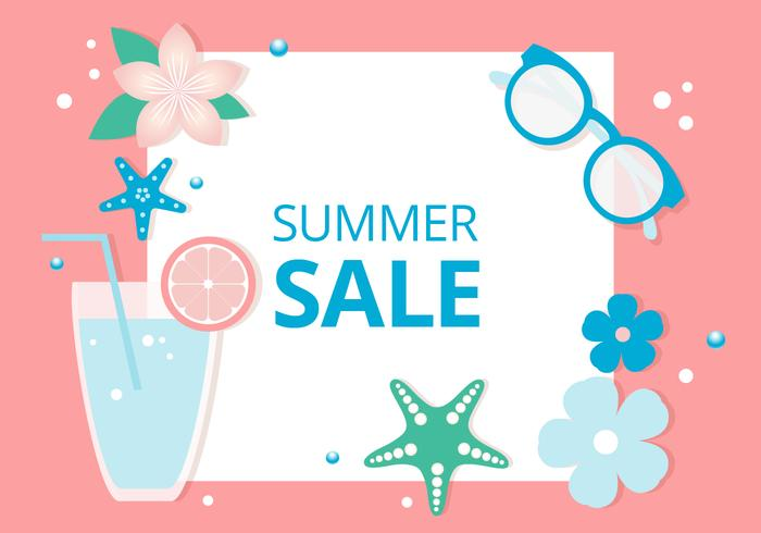 Free Flat Design Vector Summer Sale