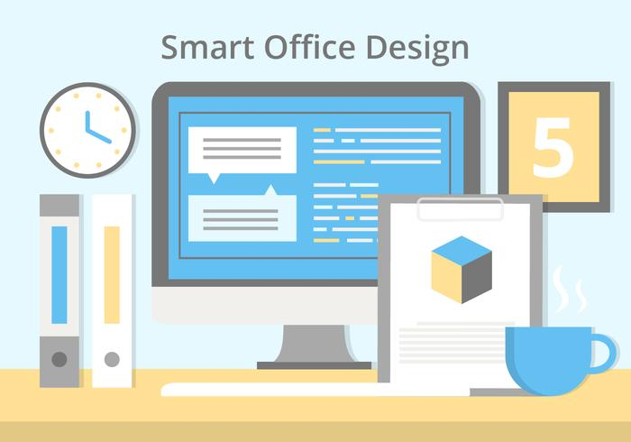 Free Flat Design Vektor Smart Office