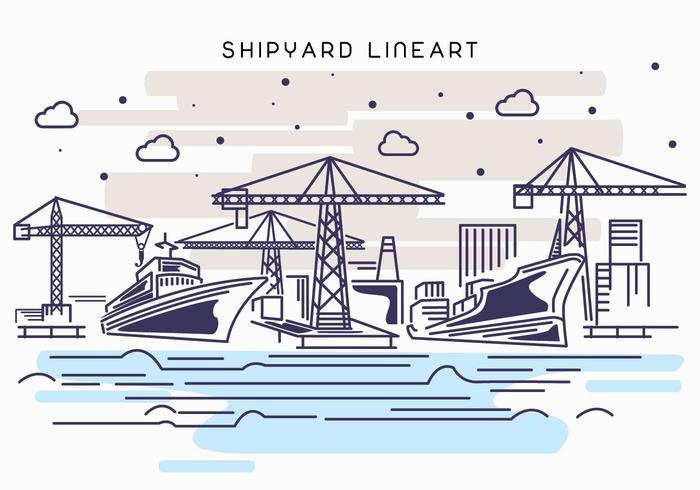 Shipyard Work Lineart Illustration