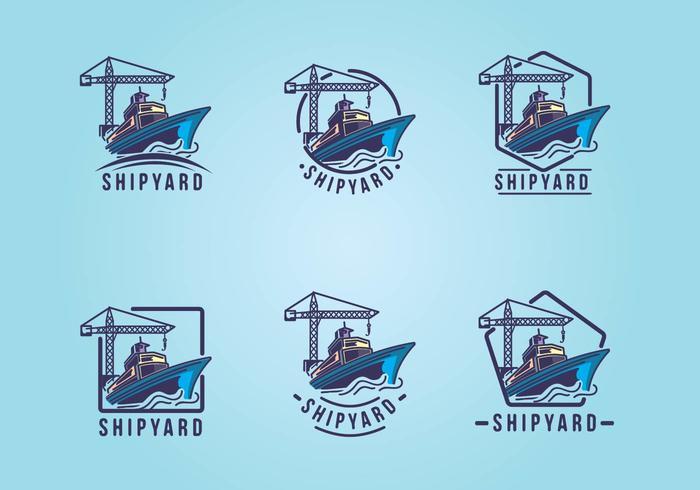 Conjunto de logotipo do emblema do estaleiro