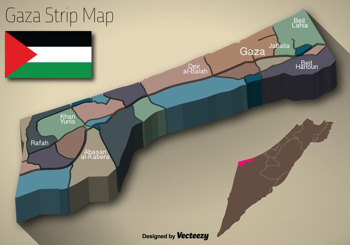 Vektor 3D Gaza Strip karta och flagga