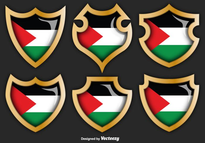 Vector Set Of Gaza Strip Badges With Flag On Them