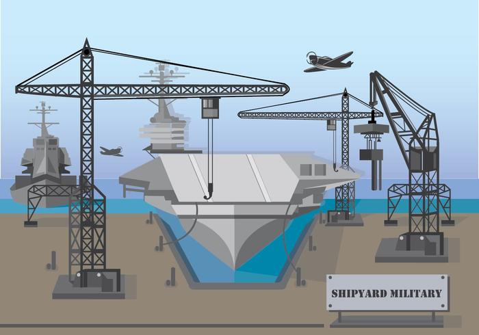Military Shipyard Illustration