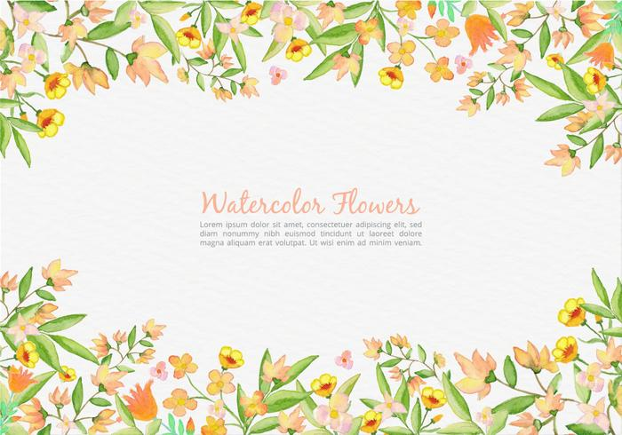 Gratis vektor målade orange blommor bakgrund