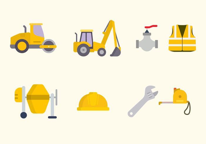 Flache Straßenbau-Vektoren